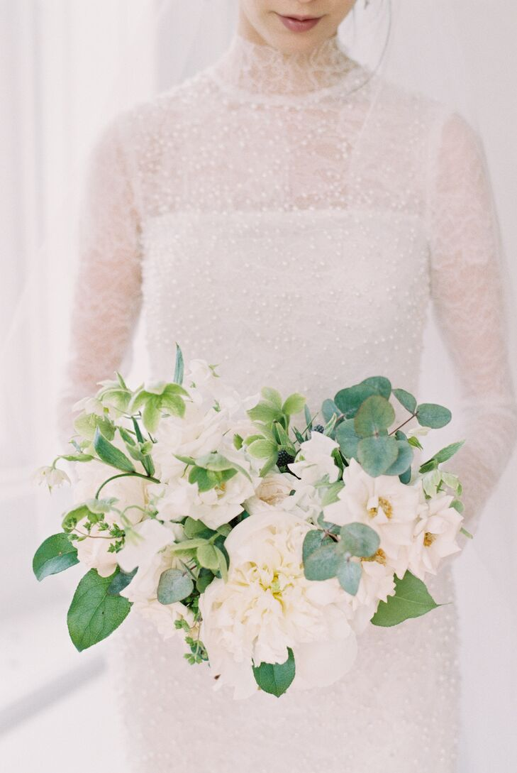 Ivory Sweet Pea, Peony and Eucalyptus Bouquet
