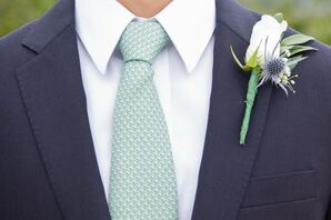 White Rose and Blue Thistle Boutonniere