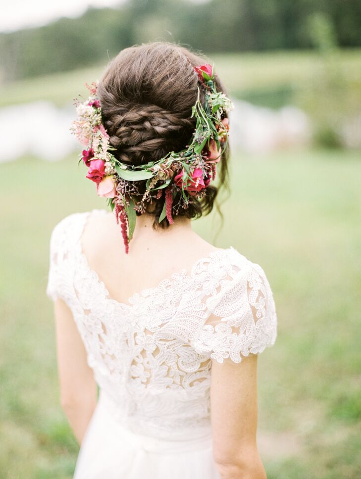 Braided Updo and Burgundy Flower Crown