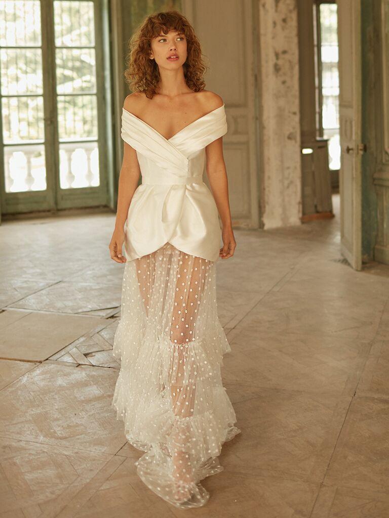 Dana Harel off-the-shoulder dress with sheer polka dot skirt