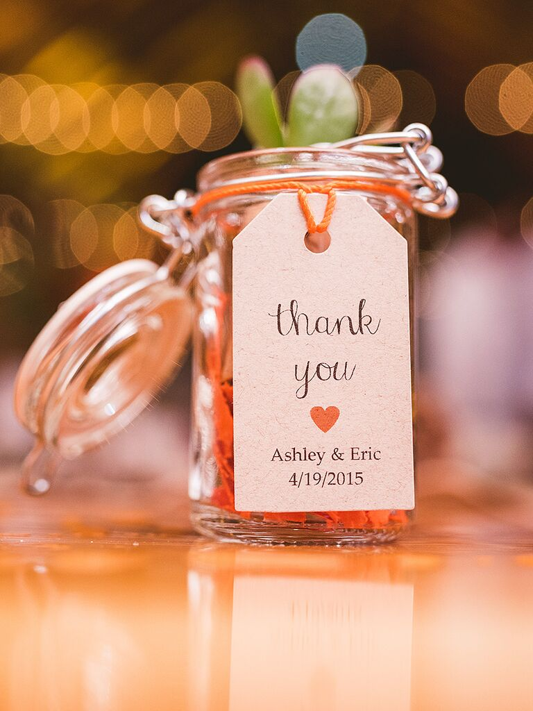 Simple 'thank you' wedding favor label
