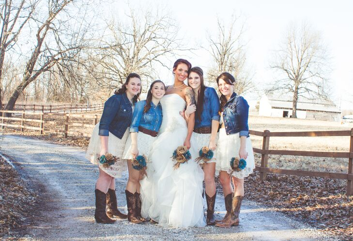 e5701358ecef Amanda told her bridesmaids she wanted them to wear a denim shirt or jacket  with a