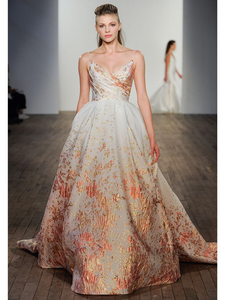 Lazaro wedding gown with orange beading