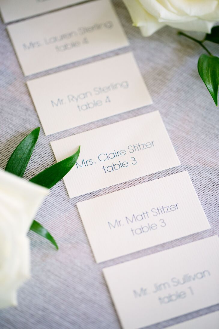 Classic Blue and White Escort Cards