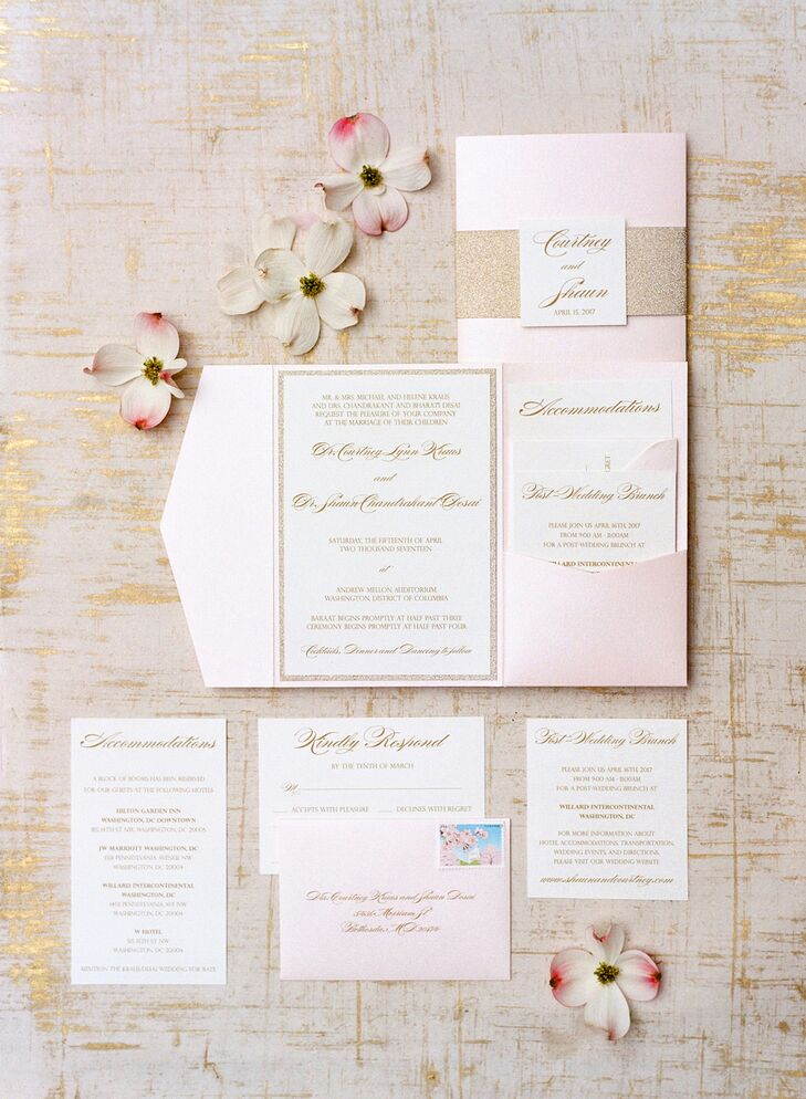 Classic Invitation Suite in Pink with Gold Glitter Accents