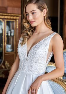 bride in embroidered v-neck wedding dress