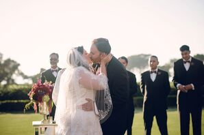 Fingertip-Length Tulle Veil With Lace