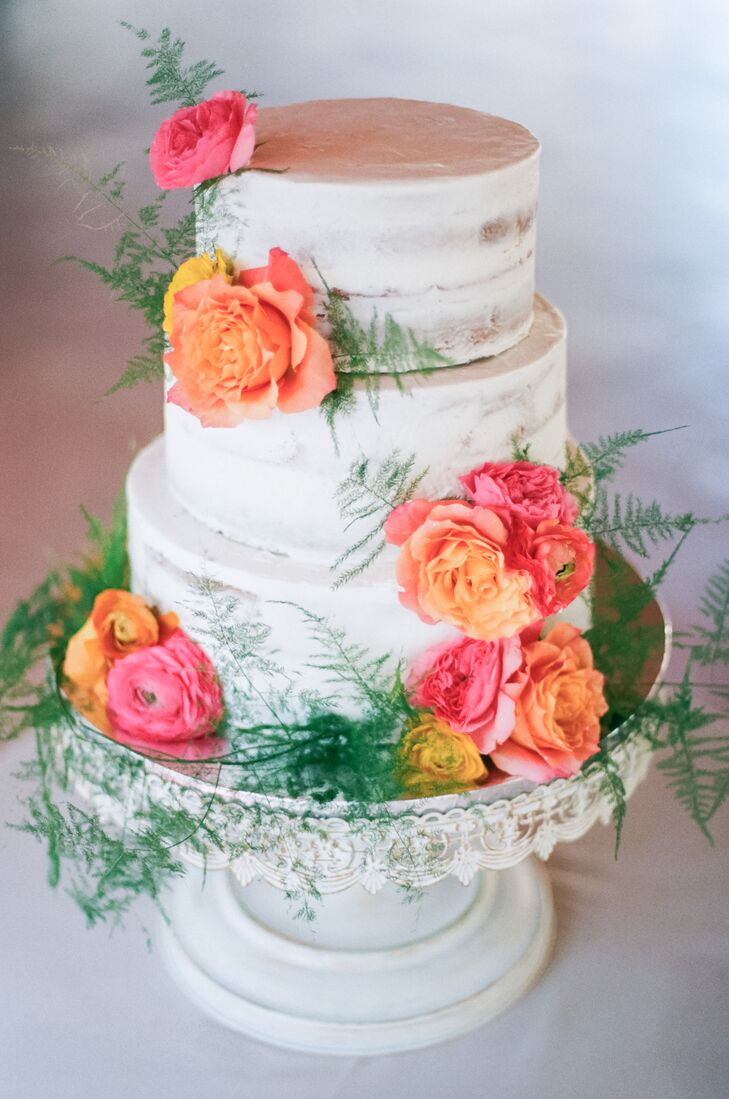 Naked Cake with Ferns and Coral Roses
