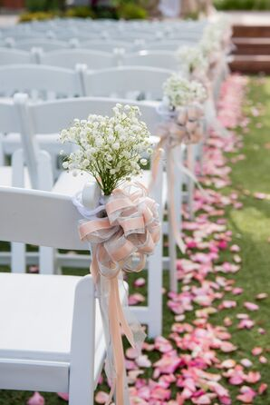 Rose Petal and Baby's Breath Outdoor Ceremony Decor