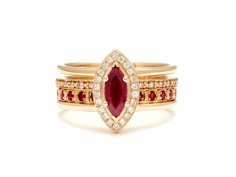 Ruby engagement with with diamond halo