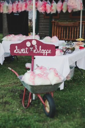 DIY Cotton Candy Bar in Burgundy, Pink and White