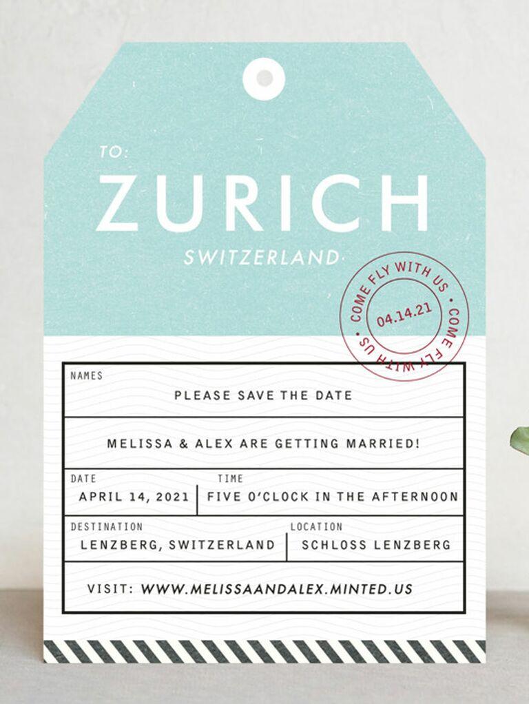 luggage destination wedding save the date