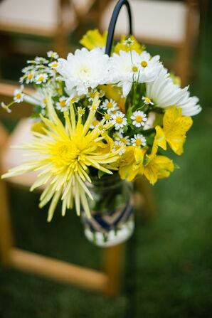 White and Yellow Flower Aisle Decorations