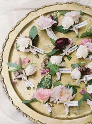 Assorted Flower Boutonnieres on Gold Plate