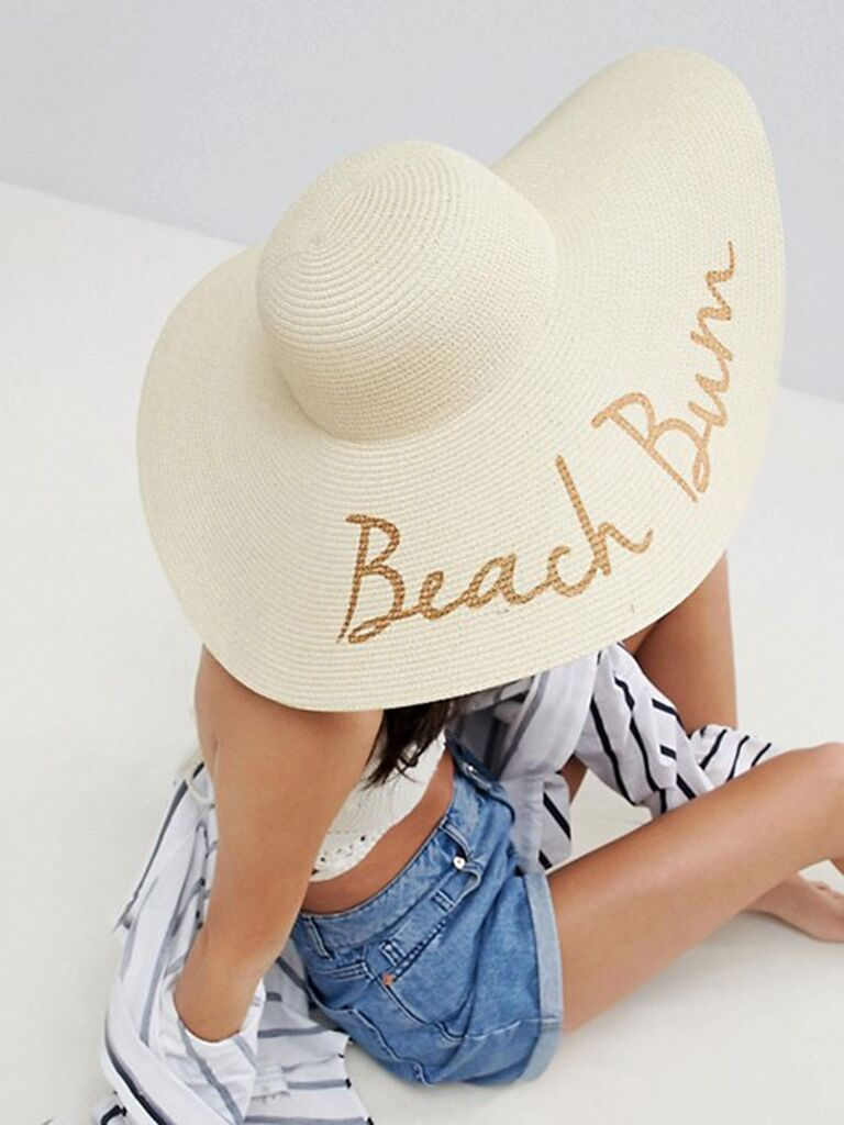 ​Asos straw floppy hat with slogan and size adjuster