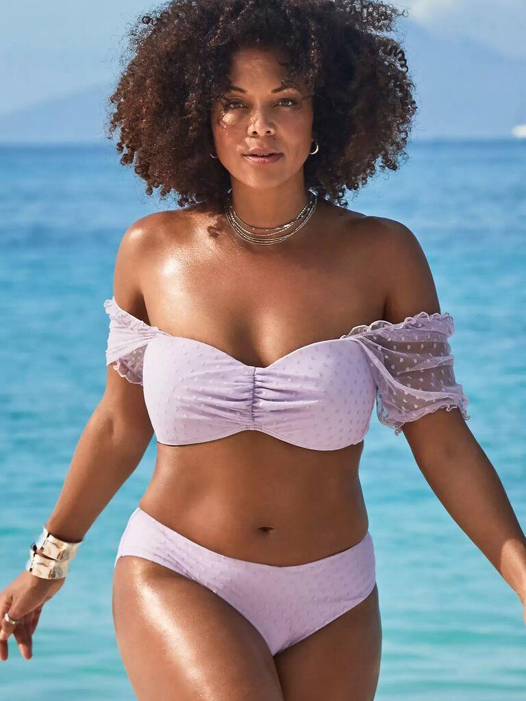 Pastel purple off the shoulder sheer polka-dot bikini set