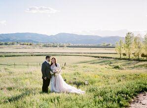 Romantic Bride and Groom in Colorado Mountains