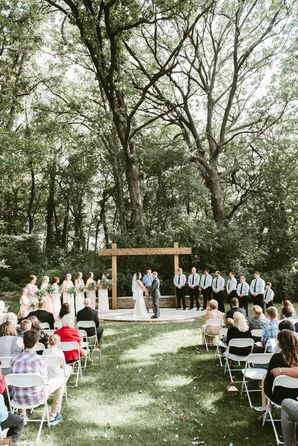 Outdoor-Chic Ceremony with Wood Altar