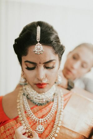 Bride Getting Ready for Indian Wedding in Concord, New Hampshire