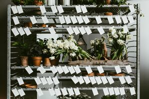 Potted Plants on Shelves with Escort Cards