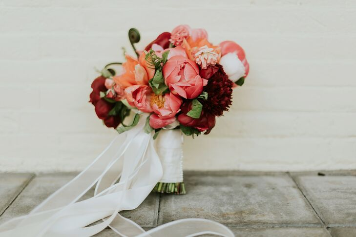 Coral Peony and Fern Bouquet