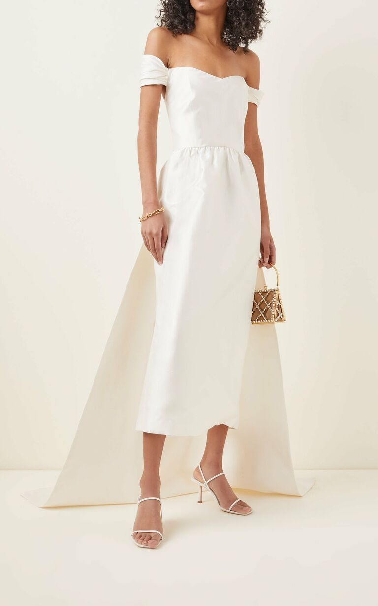 Off the shoulder midi length dress with train
