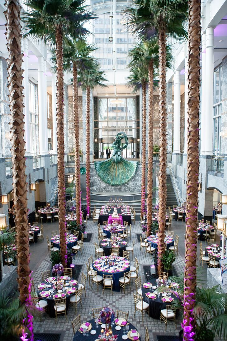The ceremony space was transformed for the reception while guests enjoyed cocktails.