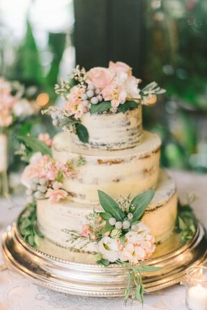 Naked Cake with Blush Roses and Silver Brunia