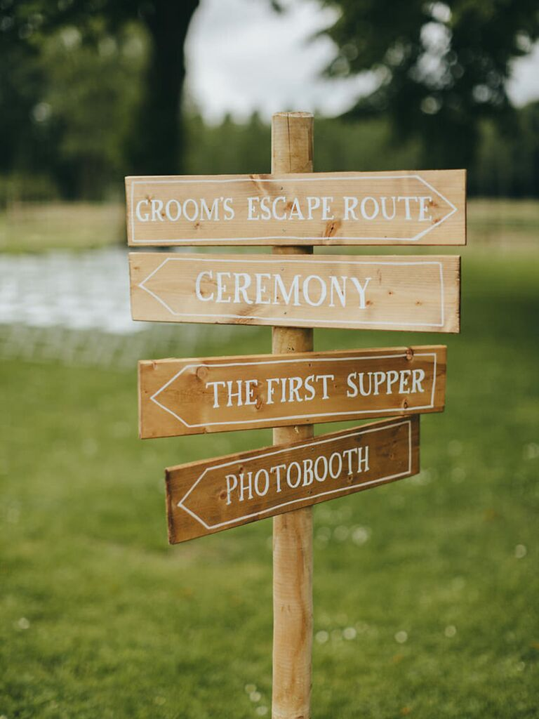 Simple wedding day sign with funny phrases - wedding details not to miss