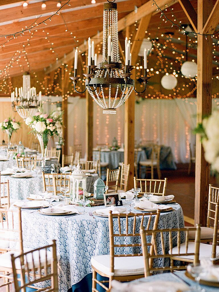 20 ways to transform your reception space rusic wedding decorations with romantic chandeliers junglespirit Gallery