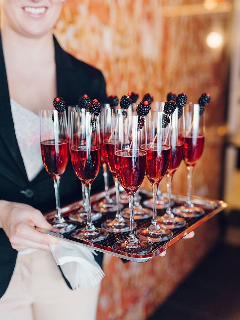 Beverage tray at bridal shower