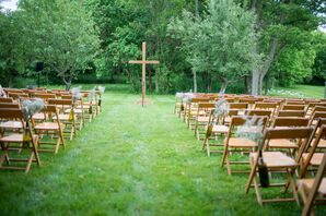 Backyard Ceremony With a Wooden Cross Altar