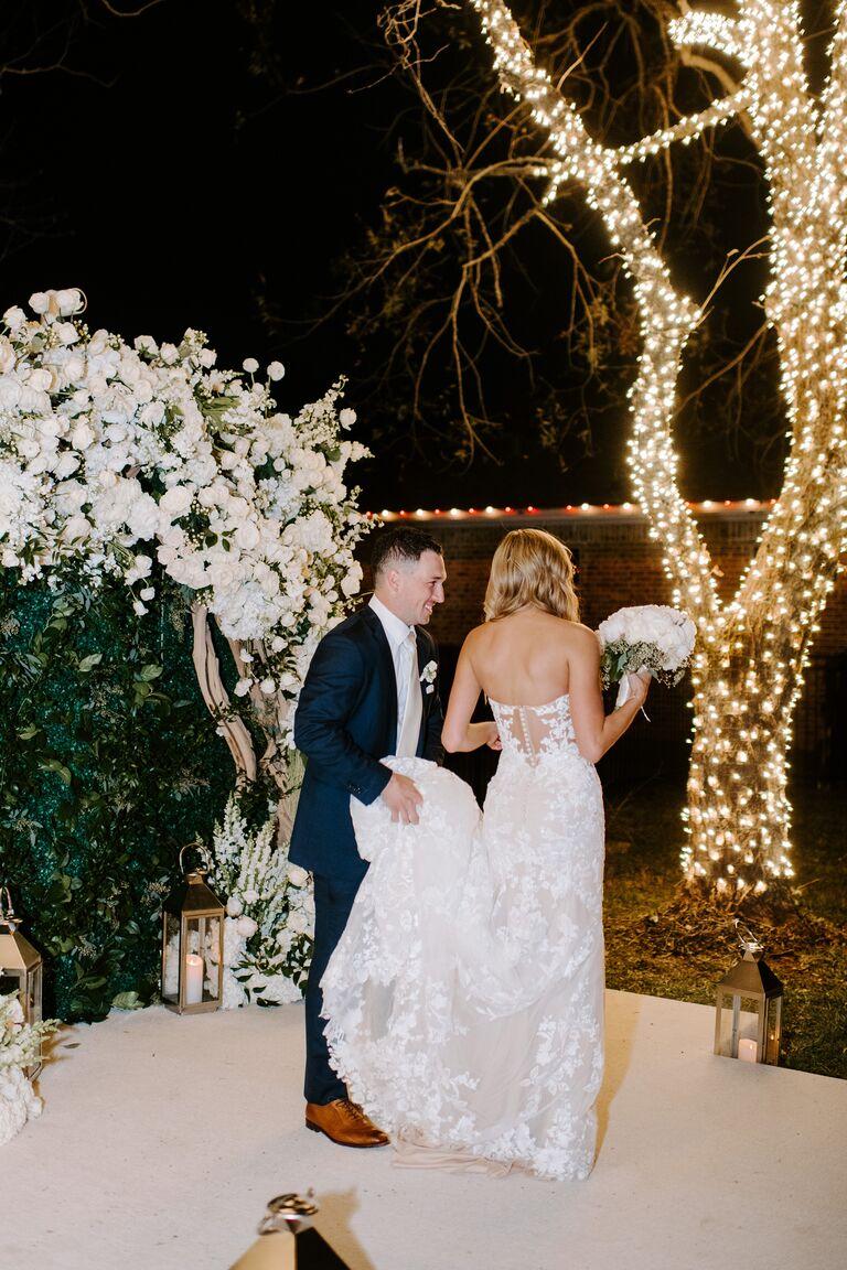 alex bregman wedding trees lit at night