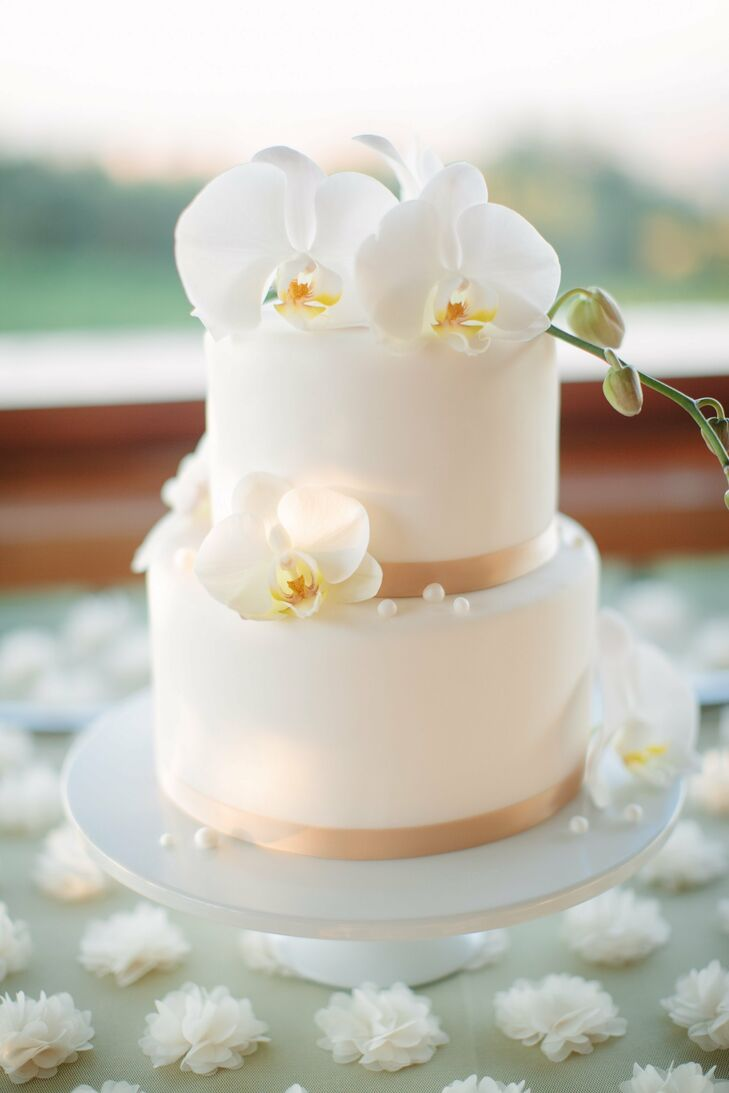 Chic Orchid Wedding Cake