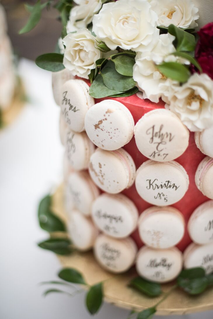 Hand-Lettered Macaron Escort Cards