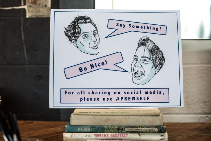 Personalized Caricature Guest Book and Hashtag Sign