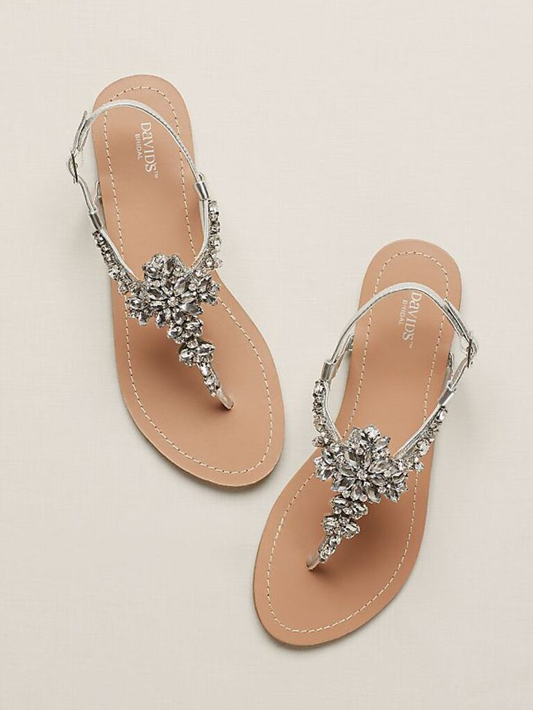 Sparkly jeweled wedding sandals