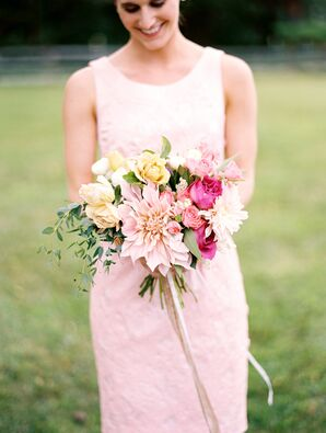 Dahlia and Rose Bridesmaid Bouquets