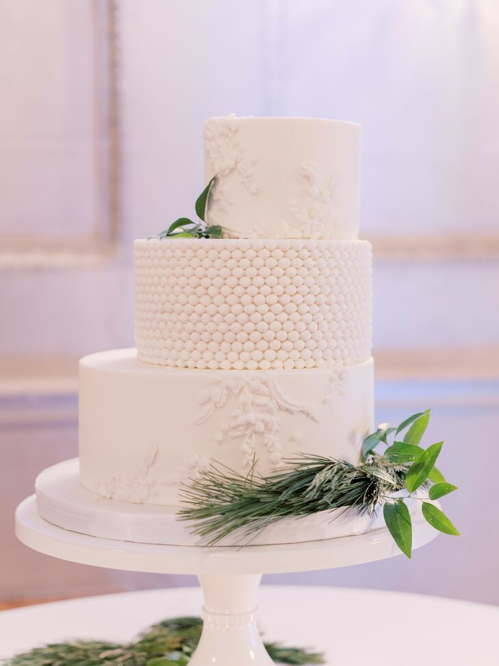 White Staircase Wedding Cake with Marble Accents