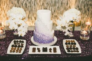 Purple Ombre Floral Wedding Cake