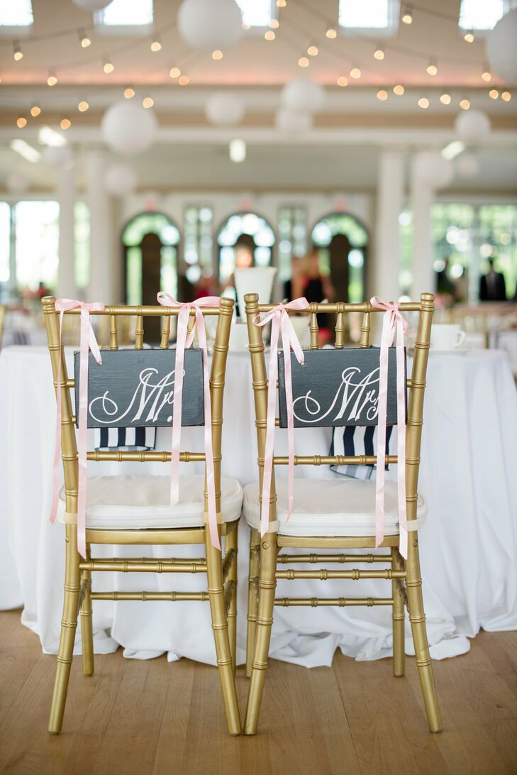 Gold Chiavari Chairs With Black Signs