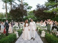 Bride and groom's wedding recessional after ceremony