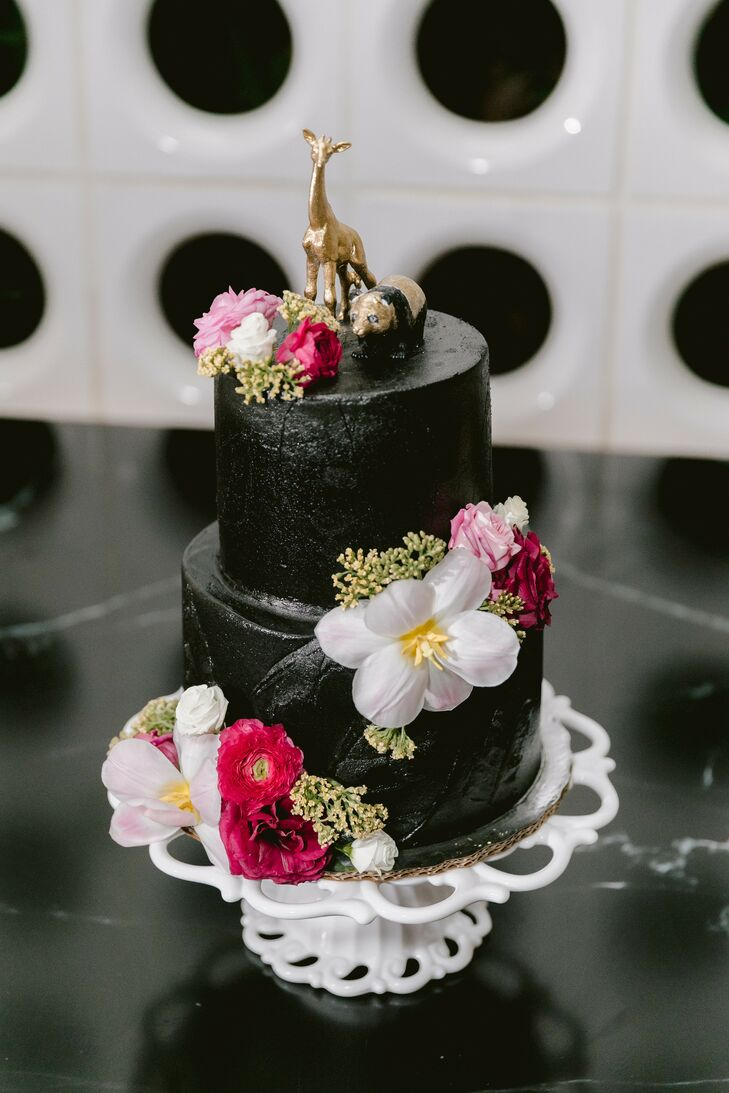 Two-Tier Black Wedding Cake in Tulum, Mexico