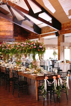 Sweetheart Chairs Draped with Garland and Ribbon