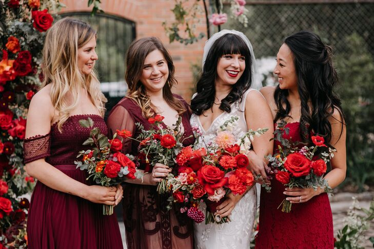Bridesmaids in Red at New Liberty Distillery in Philadelphia