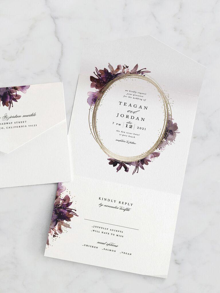 Unique purple fall wedding invitation