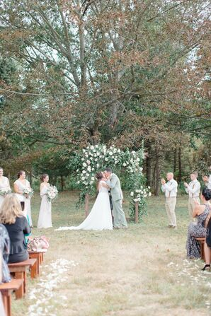 Romantic Ceremony with Flower Wedding Arch at at WoodsEdge Farm Wedding & Events in Stockton, New Jersey