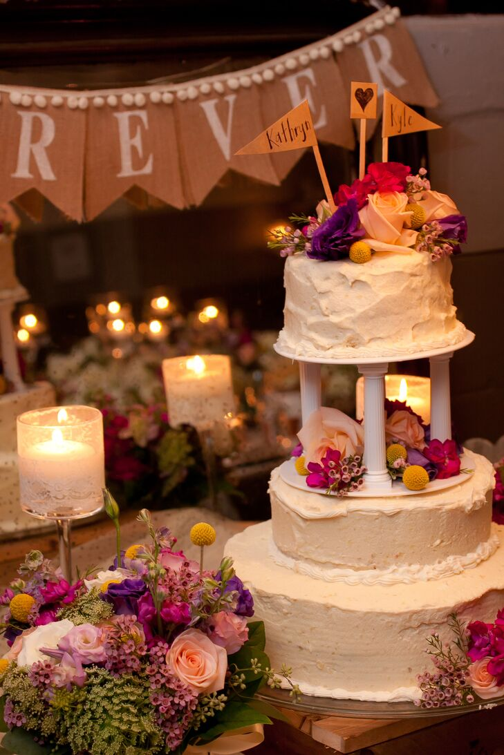 The bride's father designed and baked the three-tiered buttercream cake—the last cake you made was for his own wedding!