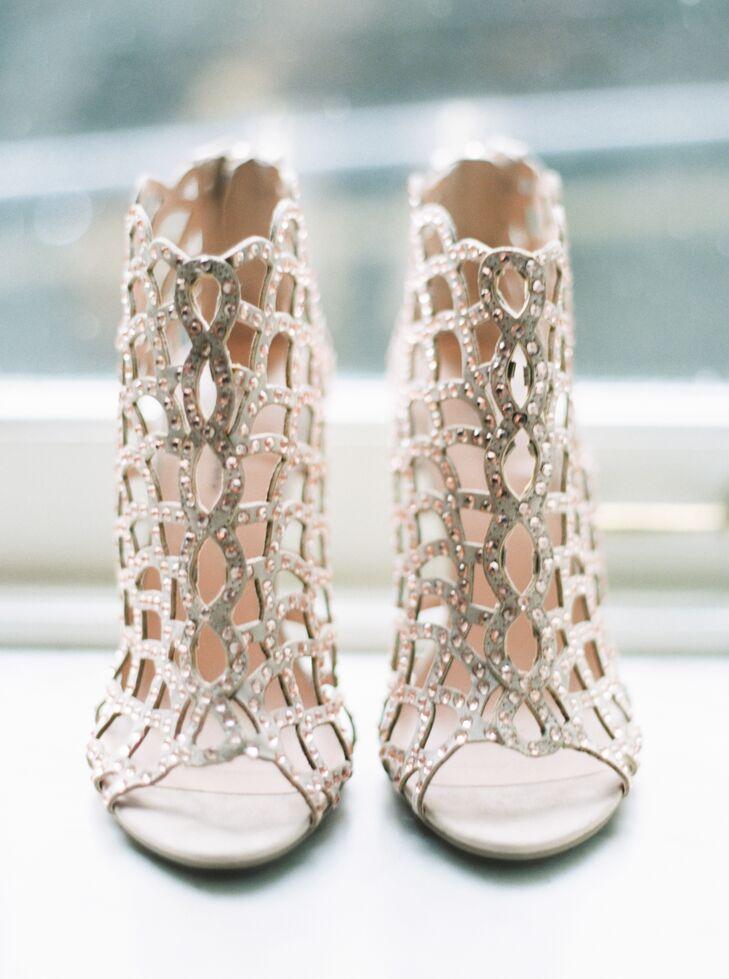 """My gold heels were my most daring piece, I think,"" Sydney says. ""A surprise metallic pop under a soft, wispy gown."""