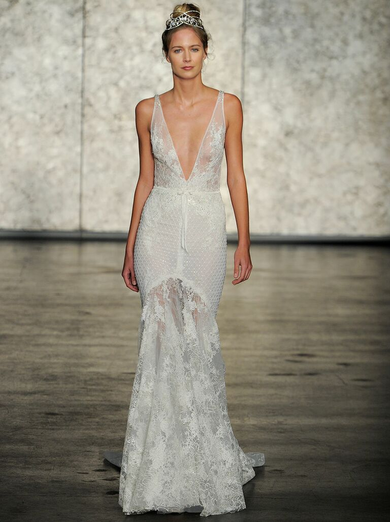 Inbal Dror Fall 2018 V Neck Mermaid Wedding Dress With Crochet And Chantilly Lace